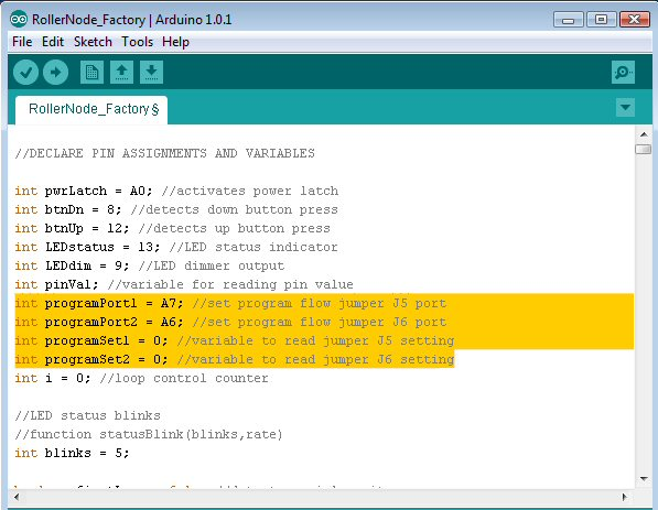 Arduino code variables used to configure and read analog inputs