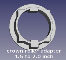 virtual model of crown roller adapter for 1.5 to 2.0 inch tubing