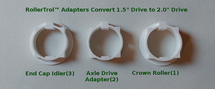 rollertrol adapters we produce with our CAD system and 3D printers