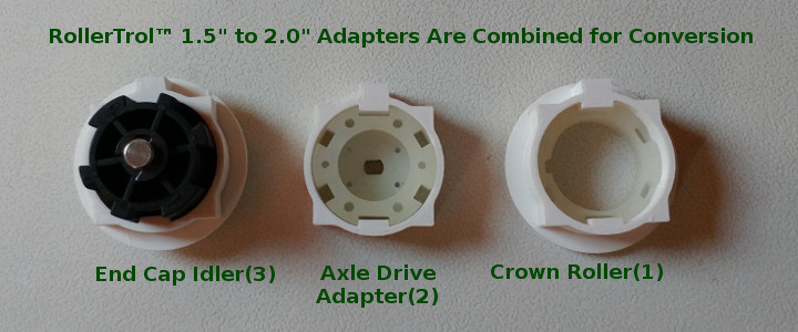 new adapters are combined with the original standard adapters to upsize and drive a 2 inch tube