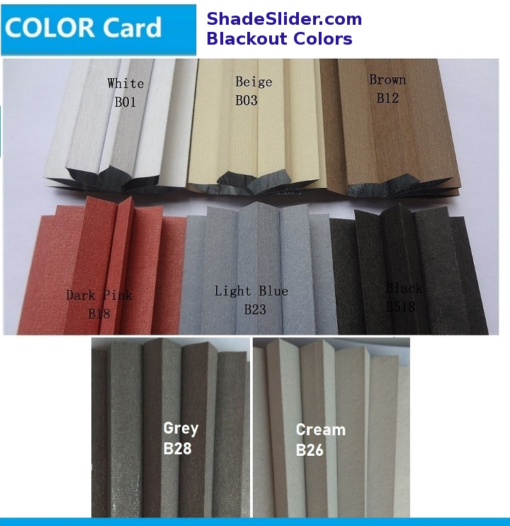 ShadeSlider for skylights and bottom-up windows - blackout cellular fabric colors