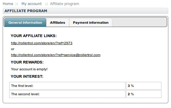 your private affiliate program settings