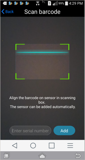 very simple inclusion process, just hold sensor label up to camera