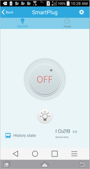smart plug control screen - timers amd IFTTT capabilities can switch AC outlet power