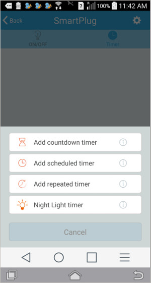 smart plug timer options setup screen - timers amd IFTTT capabilities can switch AC outlet power