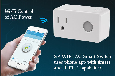 smart plug with optional timers amd IFTTT capabilities can switch AC outlet power