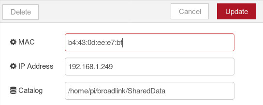 Node-RED example config dialog for BroadLink hub
