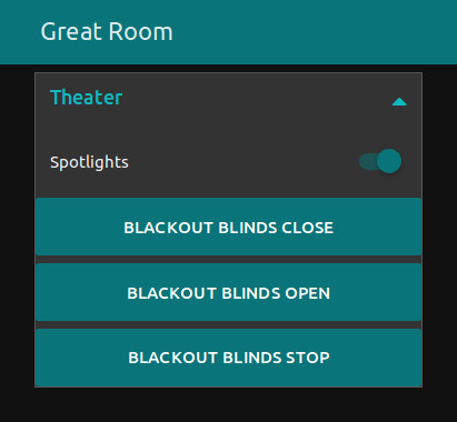 placing 3 UI BUTTON nodes on design area adds virtual buttons to the user interface for blackout blind control