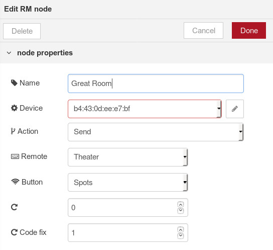 Node-RED example properties dialog for BroadLink hub