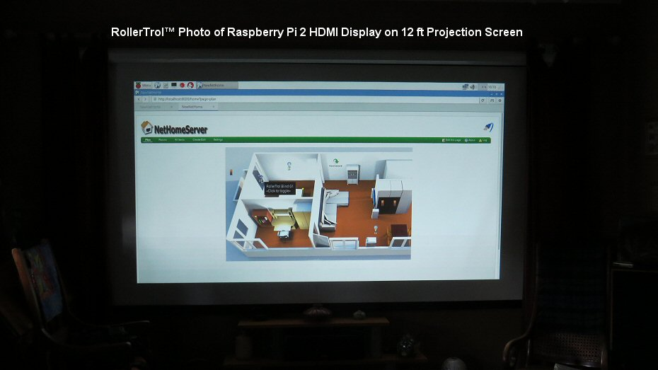 first boot picture of Raspberry Pi as home automation server on 12 ft projector screen