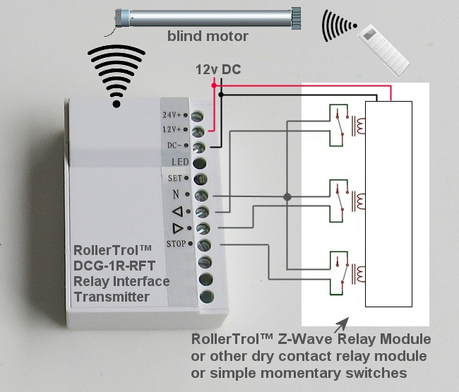 motorized blinds shades relay control