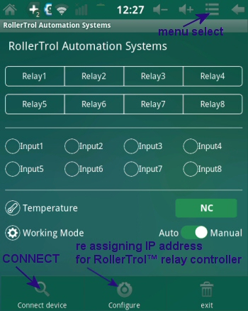 Android relay controller, temperature sensing and switch closure - setting ip address