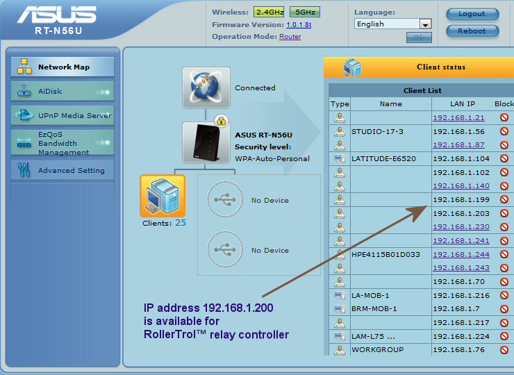 selecting IP address for Android relay controller