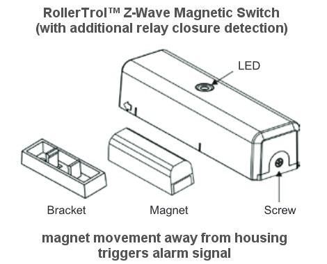 z-wave magnetic switch sensor with contact closure detection
