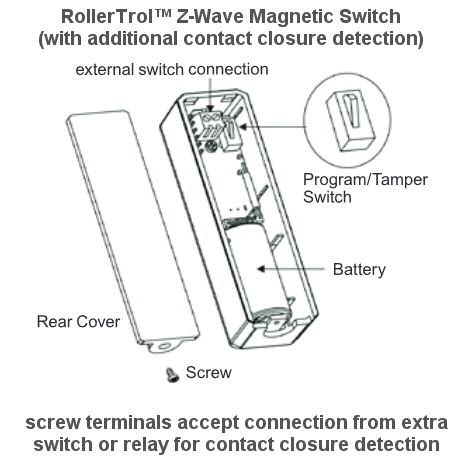Z Wave Door Window Opening Sensor With Contact Closure