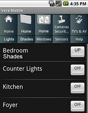 ZWAVE home automation on mobile phone