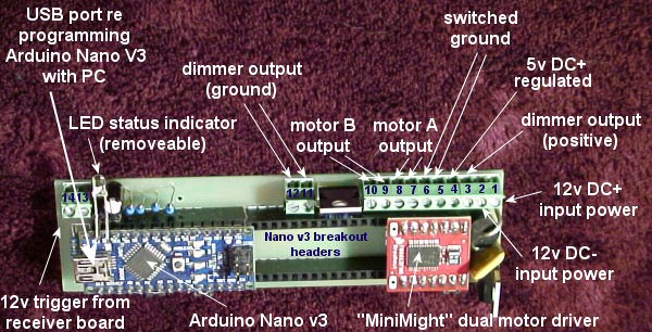 Arduino LED dimmer and motor controller motherboard