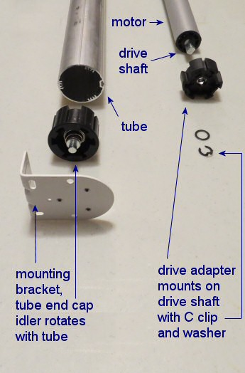 Maxi blind motor drive adapter and tube end cap view