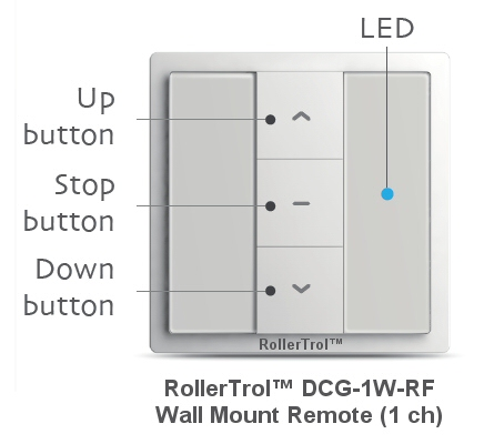 1 channel wall switch remote control for blinds, shades and window or skylight openers