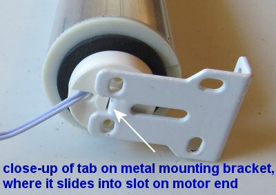 how shade and blind motors are locked to mounting bracket tab
