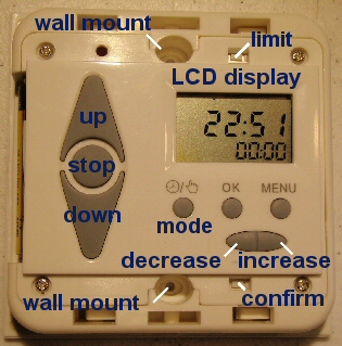 timer for motorized blinds and shades - controls and layout