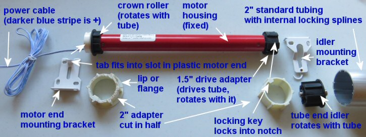 blind motor adapters and tube parts