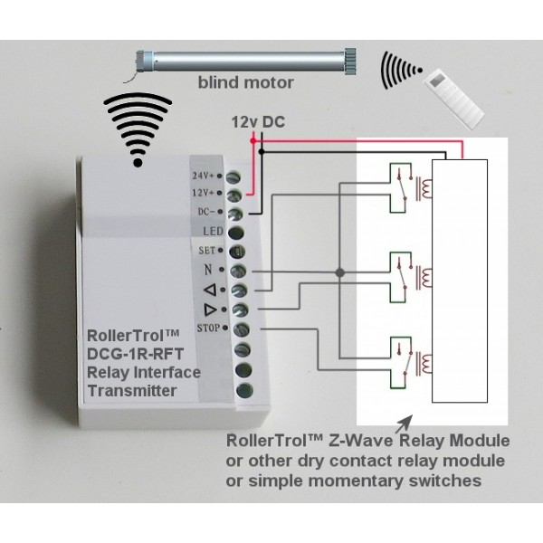 Relay Interface Transmitter For Radio Blind Motors
