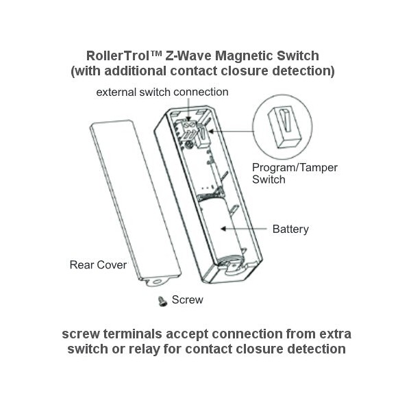 Zwave Wireless Magnetic Switch With Separate Relay Contact