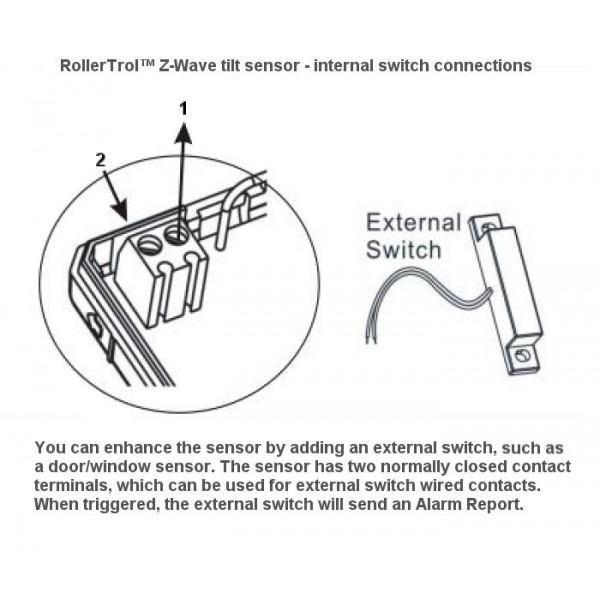Z Wave Wireless Tilt Sensor With Contact Closure Detection