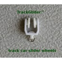 Track traveler cars for sliding curtains, drapes and other things.
